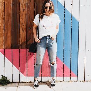 Distressed Madewell High Waist Denim Jeans
